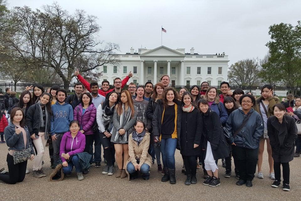アメリカのワシントンD.C、ホワイトハウス前の写真